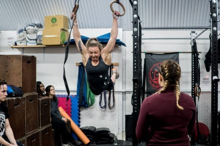 swinging on gymnastic rings